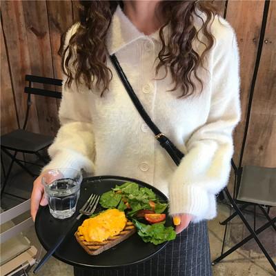 韩国秋季可爱翻领仿马海毛短款纯色单排扣针织毛衣开衫外套女上衣