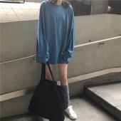 宽松中长款 下衣失踪防晒打底衫 t恤女夏2019新款 大版遮臀长袖 韩版图片