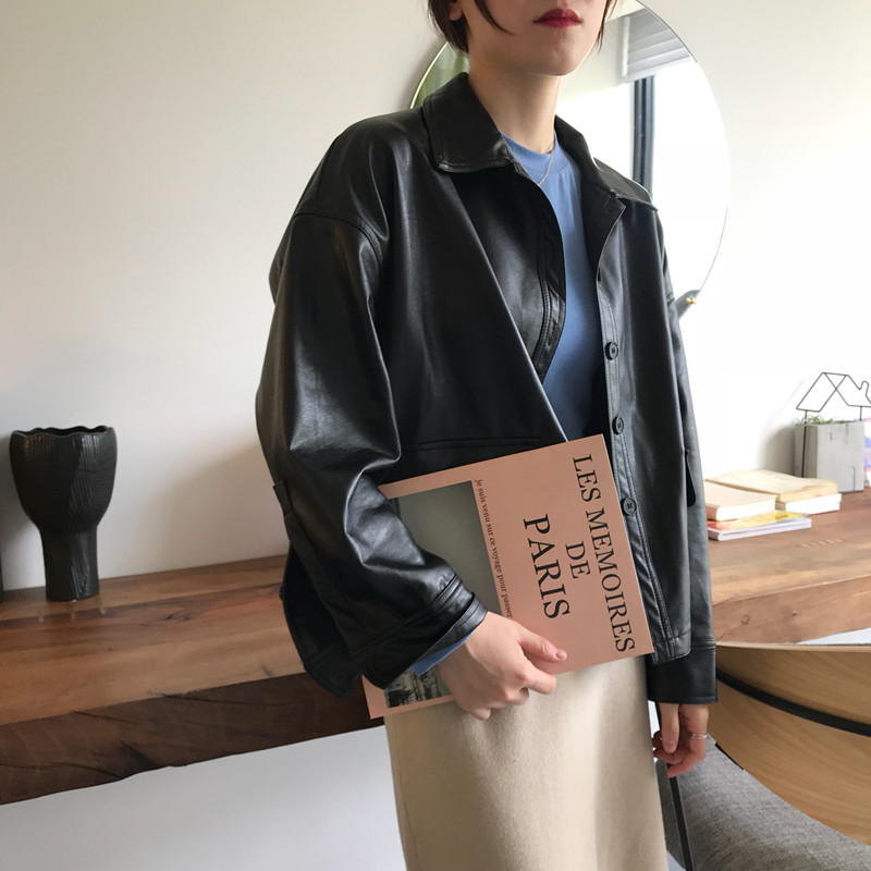 autumn Korean version of the loose BF wind fashion motorcycle leather personality long-sleeved jacket retro single