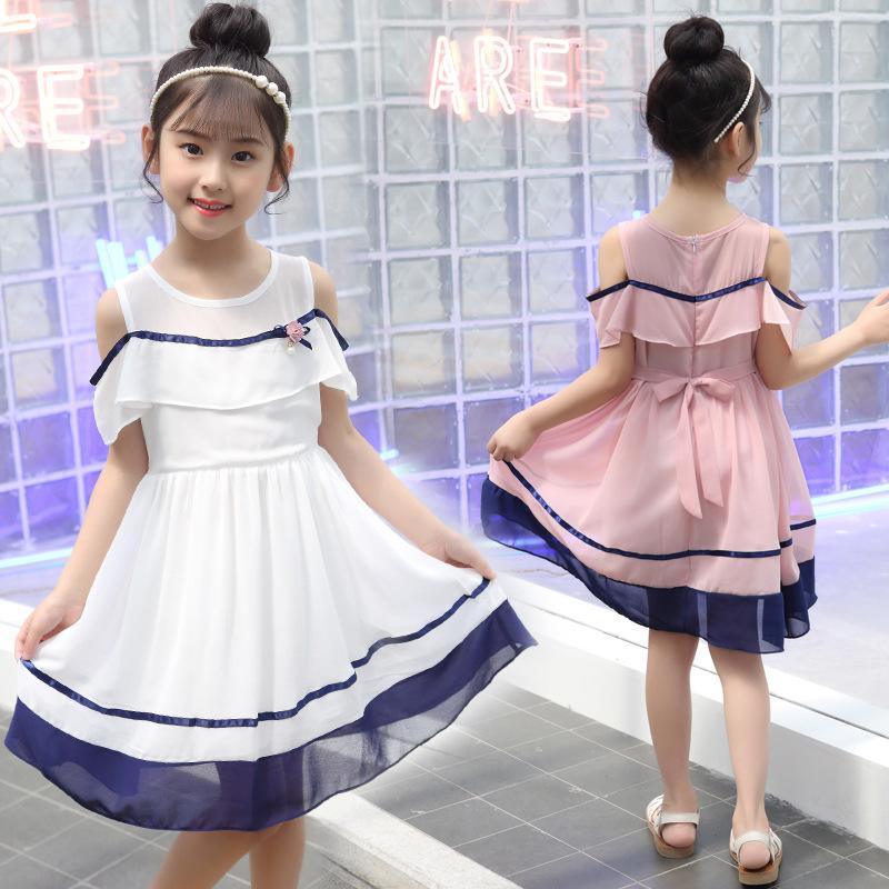 女童连衣裙7-9露肩洋气夏装10小孩8中大童雪纺裙子15岁小学生韩版