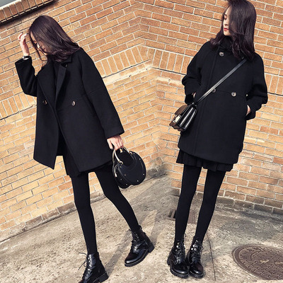 2018秋冬新款chic黑色外套女中长款韩版小个子毛呢学生加厚大衣潮