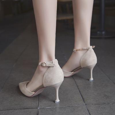 2019新款法式少女高跟鞋女细跟米色单鞋一字扣百搭性感尖头女鞋子
