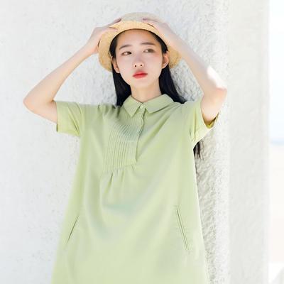 【清仓】夏季新款文艺棉麻风琴褶衬衫裙女短袖森系衬衣