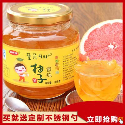 送钢勺 骏晴晴蜂蜜柚子茶1000g泡水喝的蜜炼花果茶酱冲饮品