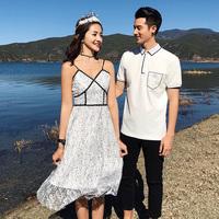 情愫拍婚纱照的情侣装夏装连衣裙2018新款蕾丝女裙子修身短袖t恤