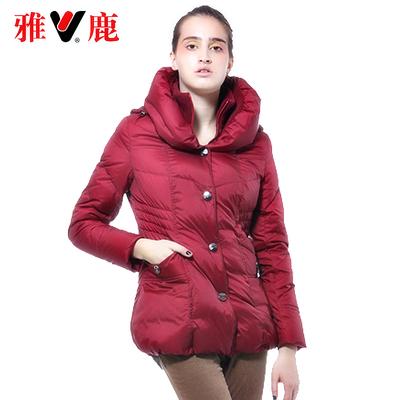 雅鹿女士双重领连帽冬装保暖加厚羽绒服中长款中老年清仓特价外套