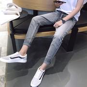 加绒加厚青少年男士九分牛仔裤秋季新款韩版修身潮流小脚长裤子