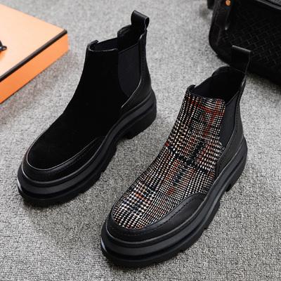 欧洲站2018冬季新款女鞋圆头真皮平底拼接格子欧美厚底马丁靴短靴