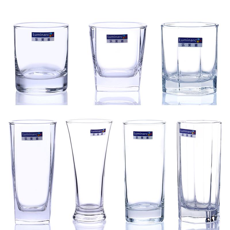 乐美雅家用透明玻璃水杯牛奶泡茶喝水啤酒烈酒白酒杯威士忌酒杯