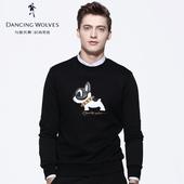 与狼共舞卫衣男 2019春装新款韩版植绒印花长袖T恤针织上衣6620
