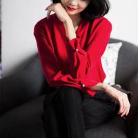 设计师款!惊艳的美~优雅正红 流畅立体剪裁 V领衬衫上衣女##
