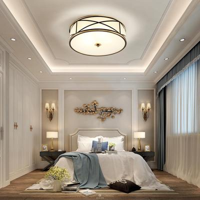 世冠 全铜室卧吸顶灯圆形欧式LED阳台过道玄关灯具美式吸顶灯