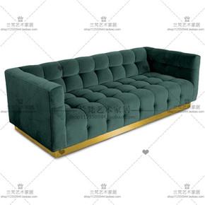 美式简约现代客厅布艺双人三人沙发 软装设计师金属脚咖啡厅沙发