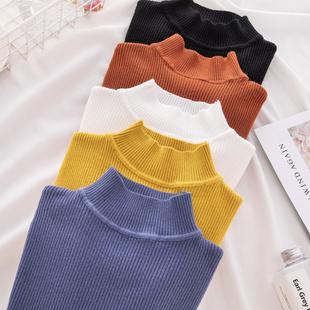 半高领套头毛衣女紧身韩版秋冬新款打底衫长袖修身纯色上衣针织衫