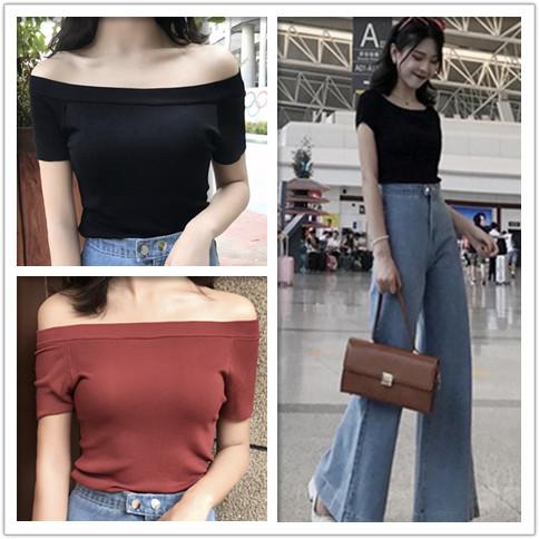 2018今年流行一字领露肩短袖针织衫夏季薄款T恤复古喇叭裤两件套