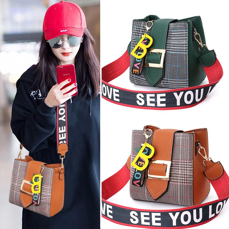 包包女2019新款潮韩版时尚单肩包百搭女士斜挎包宽肩带水桶包小包