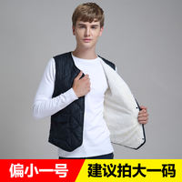 2018 down cotton vest men's liner autumn and winter plus velvet thick warm bottoming vest cotton jacket Korean version of cashmere
