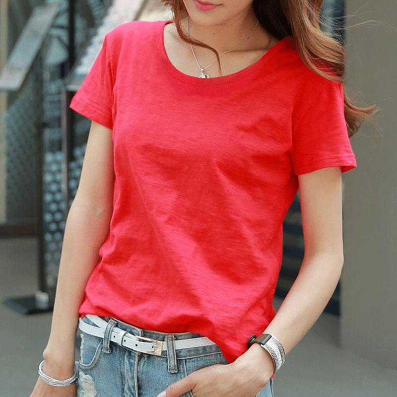 夏季红色短袖竹节棉t恤半袖女.