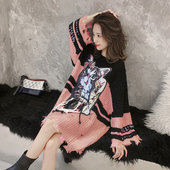 新款 长袖 毛衣女套头V领网红粗毛线针织外套秋装 慵懒风宽松中长款