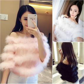 气质韩版上衣2018秋装新款时尚蕾丝毛毛露肩一字领短袖百搭女装