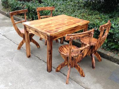 仿古碳化火烧家具/防腐实木家具/休闲户外桌椅/餐桌餐椅/树枝椅