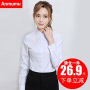 白色衬衫女长袖2018秋冬新款韩范职业正装工作服大码V领加绒衬衣