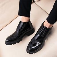 飞力步冬季中帮加绒青年皮鞋男韩版潮流马丁靴英伦发型师潮鞋男鞋