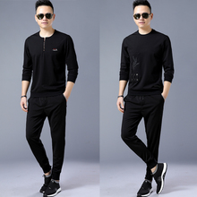 Jazz round neck sweater suit set for spring and autumn running two sets of fashionable sportswear casual T-shirt, men's thin coat