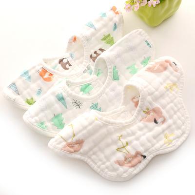 婴儿围嘴纯棉纱布口水巾新生儿防吐奶360度可旋转男宝宝花瓣围兜