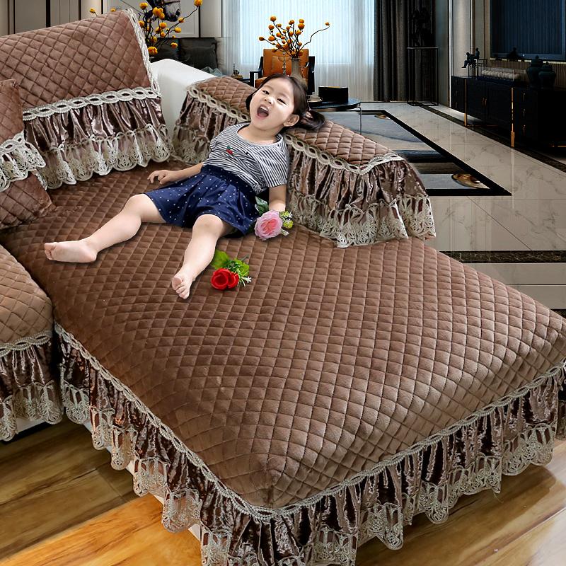 欧式法兰绒沙发垫冬季防滑加厚