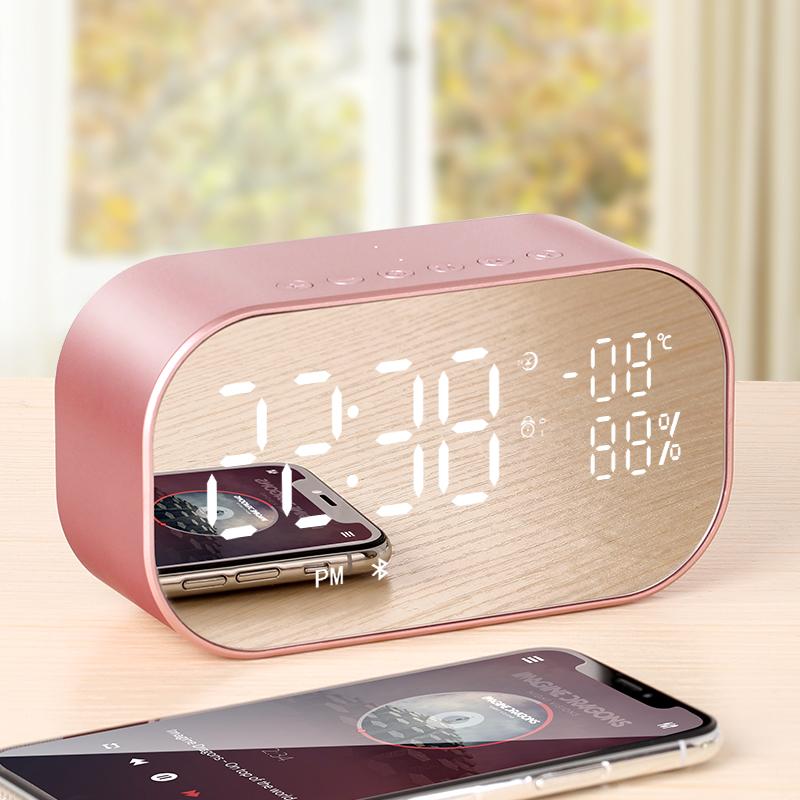 ✅无线蓝牙闹钟音箱带收音机手机迷你usb智能小型音响可插u盘镜面多功能床头家用女重低音3D环绕低音炮