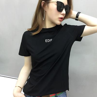 欧洲站秋装女装2018新款欧货潮黑色t恤女短袖半高领中长款打底衫