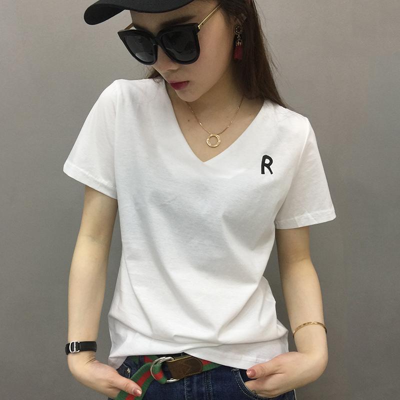 欧洲站女装欧货潮2019新款白色t恤女短袖内搭打底衫体恤春夏上衣图片