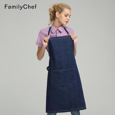 新款韩版时尚牛仔围裙全棉长款挂脖围腰男女短款小围裙餐饮工作服