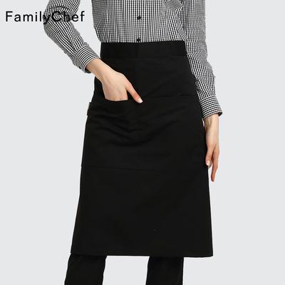 酒店厨师围裙男女过膝中长款围腰半身裙餐厅厨房咖啡服务员工作服
