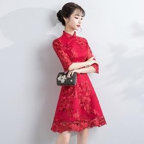 新娘敬酒服旗袍2019新款春季中式短款红色结婚礼服裙长袖中国风女