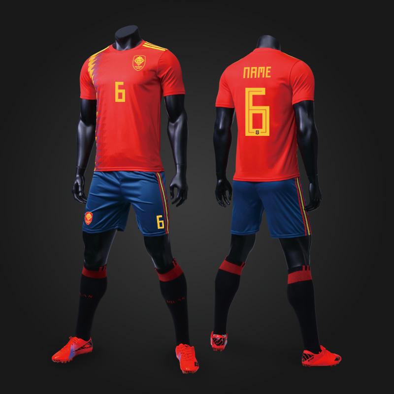 西班牙球衣2018法国队阿根世界延球衣足球训练服定制足球服套装男