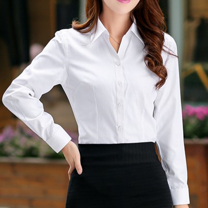 Golden fox solid color youth ladies pointed collar long sleeve slim slimming business shirt professional