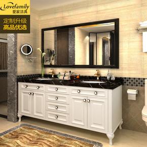 美式橡木浴室柜卫生间洗脸盆柜组合洗漱台落地实木双盆洗手盆浴柜
