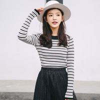 QXVJ条纹针织衫女套头2018新款韩版学生修身毛衣薄款打底衫女春秋