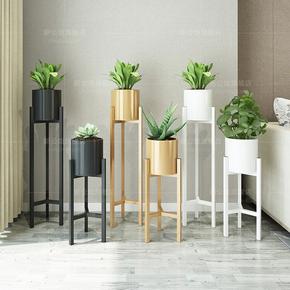 北欧客厅铁艺花架花盆架创意三角形金色绿萝花架阳台多肉简约花架