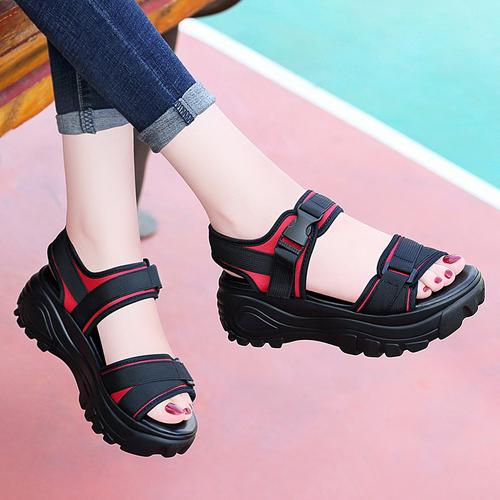 运动凉鞋女厚底夏季新款2018韩版百搭女士坡跟松糕鞋网红休闲女鞋