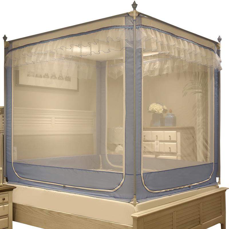 蚊帐三开门拉链方顶公主风1.5米1.8m床双人家用蒙古包坐床纹帐