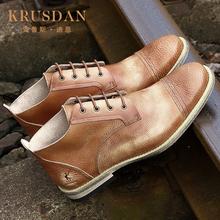 擦色复古英伦男鞋 圆头真皮潮流做旧休闲皮鞋 男式手工鞋 夏季新款