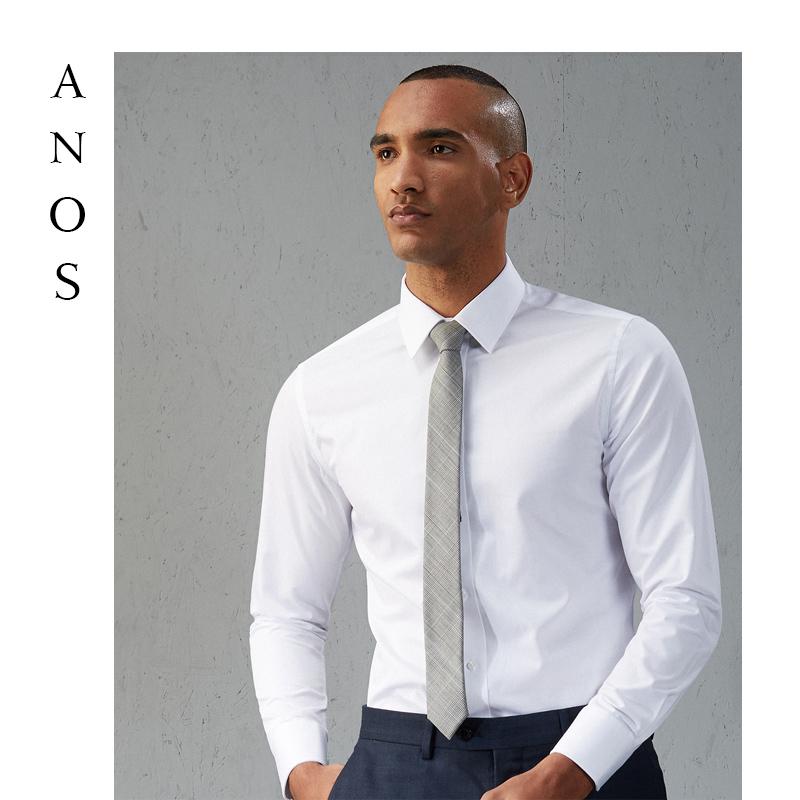 ANOS款白衬衫男长袖职业正装免烫衬衣型西装衫