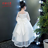 Princess Skirt Girls Summer Dress Peng veil Children's Birthday Tail White Flower Children's Piano Long Sleeve Performance Dress
