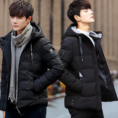冬装连帽棉服男士冬季棉衣男中长款短2018羽绒服加绒加厚韩版潮流