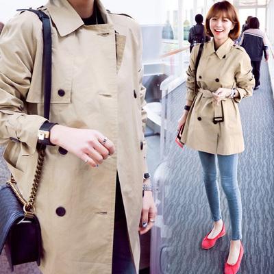 韩国高端矮小个子短款风衣女2017秋季新款卡其色薄款双排扣外套潮