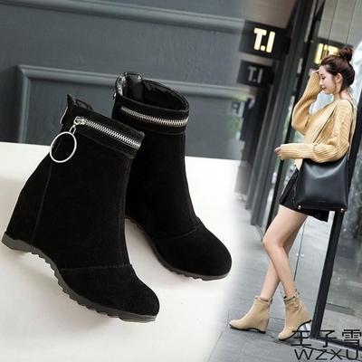 内增高靴子女春秋季韩版百搭坡跟短筒学生英伦风冬款绒面短靴女鞋