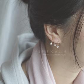 【1月20日晚8点清仓七折特价】耳夹红玛瑙小珍珠三钳新中式新年红